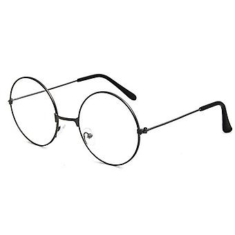 Round Plain Clear Glasses Ultra Light Metal Decoration Transparent Women