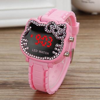 Hello Kitty Watch Kids Kvinder Led Elektronisk Cute's Cartoon Sport Wrist Clock