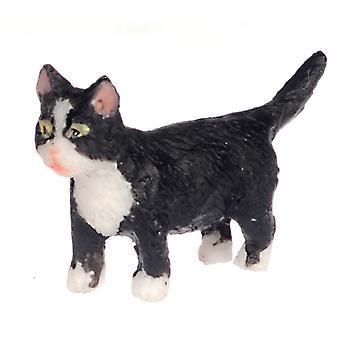 Puppen Haus schwarz Kätzchen weiß Socken Walking Miniatur Pet Katze 01:12 Maßstab