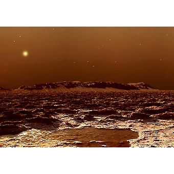 A view from the edge of the southern polar cap of Mars Poster Print