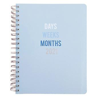 Otter House 2021 Spiral Bound Vegan Leather Diary Planner - Blue