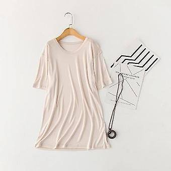 Natur Silk Sleep Toppar Sovkläder Kortärmad Fast Lös Plus Storlek Stickad