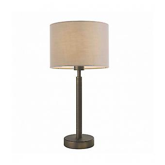 Owen Cylinder Table Lamp In Steel, Antique Bronze Plate And Taupe Fabric