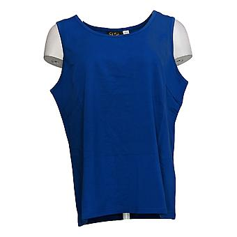 Bob Mackie Women's Top Essentials Sleeveless Scoop-Neck Knit Blue A345154
