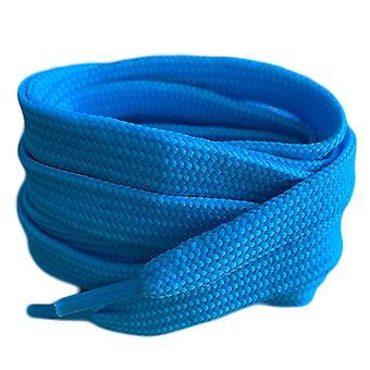 Lacets de lacets de lacets d'entraîneur plat bleu clair