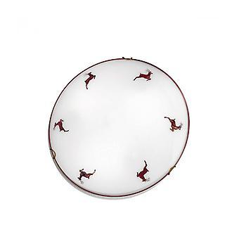 Plafón Luna de Latón Antiguo, 1, Bombilla, Pantalla de Cristal