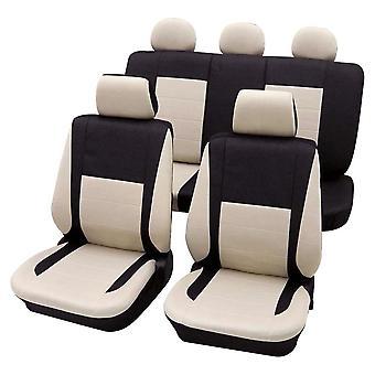 Autositzabdeckungen Beige, waschbar bei 30 Grad, Airbag kompatibel, (17 Stück) Ermöglicht es, den Rücksitz separat zu falten