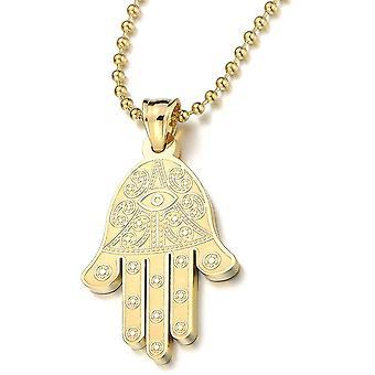 HaiFei Gold Hamsa Hand der Fatima Schutz Anhnger fr Damen fr Herren Edelstahl-Halskette mit