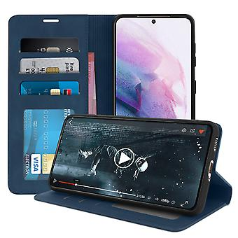 Cover Samsung Galaxy S21 Soft-touch Clapet Wallet Video Holder Blue