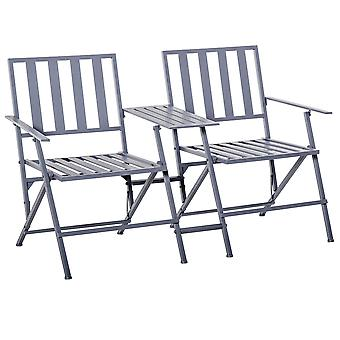 Outsunny Folding Steel Double Seat Garden Loveseat Bench Patio Chair w/ Table Companion Slatted Garden Patio Outdoor Balcony Furniture Grey