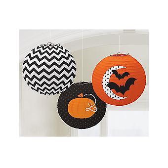 3 Halloween Lantaarns met patroon 24 cm