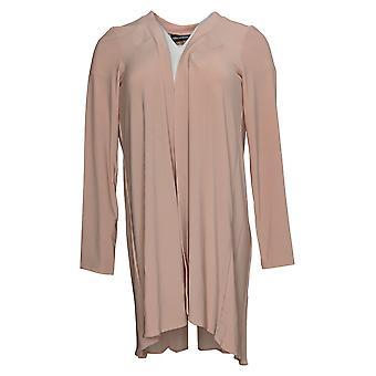 Nina Leonard Women's Sweater Pleated Chiffon Matte Cardigan Pink 652640