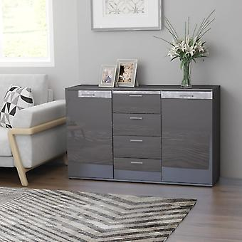 vidaXL Sideboard high gloss grey 120×35.5×75 cm chipboard