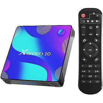 X88 Pro X10 Android 10.0 TV box, 4GB RAM 32GB ROM RK3318 Négymagos 64bites Cortex-A53 Támogatás 2.4 / 5.0GHz Kétsávos WiFi BT4.0 3D 4K 1080P H.265 10 / 100M Ethernet HDMI2.0 Smart TV Box(fekete)