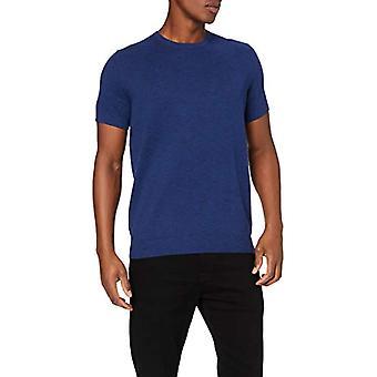 Amazon brand - find. Men's V-Neckline T-Shirt, Blue (Blue Spacedye (B8by27)), S, Label: S