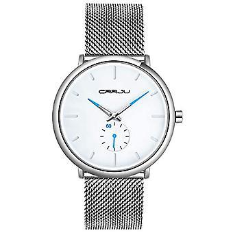 SUPBRO Ultra thin black men's watches in minimalist quartz fashion with silver mesh strap