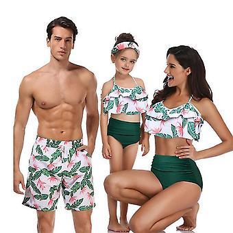 ملابس السباحة الأم ابنة عالية الخصر بيكيني والأب الابن مطابقة فساتين الملابس