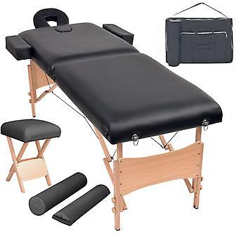 vidaXL Massageliege 2 Zonen Tragbar mit Hocker 10 cm Polster Schwarz