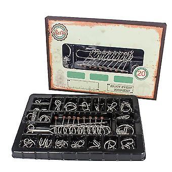 20Pcs iron link unlocking interlocking puzzle ring magic trick toy set az5310