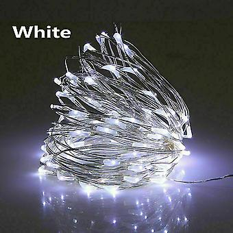 Usb 3m 30 يؤدي الأبيض USB قاد أضواء سلسلة 10m 5m 3m 2m، الفضة سلك ضوء خرافية للماء az16797