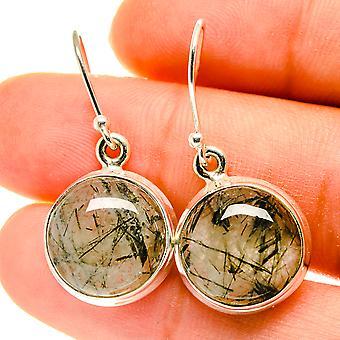"Tourmalinated Quartz Earrings 1 1/4"" (925 Sterling Silver)  - Handmade Boho Vintage Jewelry EARR417149"