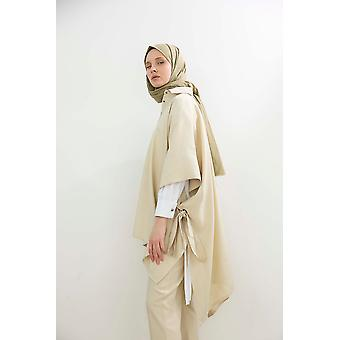 Sleeve Detailed Buttoned Pancho