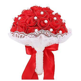 Brautjungfer Hochzeit Schaum Blumen Rose Braut Bouquet Band