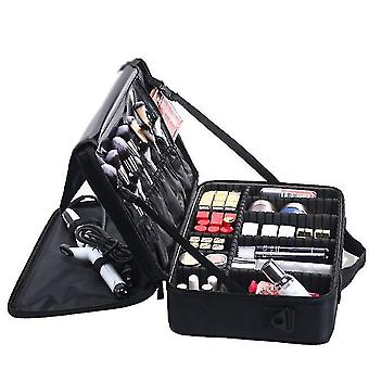 Portable Makeup Brushes Storage Bag With Adjustable Dividers(L)