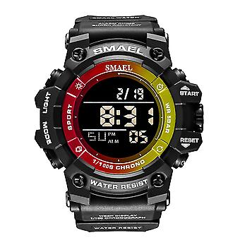 שעון אלקטרוני עמיד למים לגברים, עם זוהר LED (צהוב שחור)