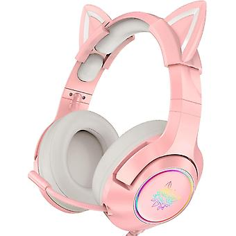 Onikuma Pink Gaming Headset With Removable Cat Ears
