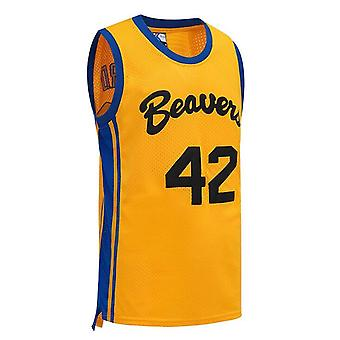 Men's Howard #42 Beavers Basketball Jersey S-xxxl Yellow, 90s Hip Hop Clothing,stitched Letters And Numbers