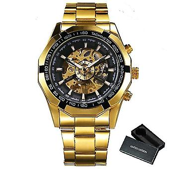 Skeleton Automatic Mechanical Watch Gold Skeleton Vintage Watchs(BO GOLD ALL BLACK)
