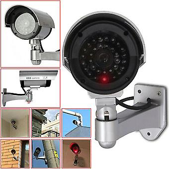 (Silver) Dummy Fake Security CCTV Cameras Safety Cam Red IR LED Light Outdoor