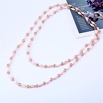 Crystal With Shell Beads Links And Chains Combine Long Necklace-pink