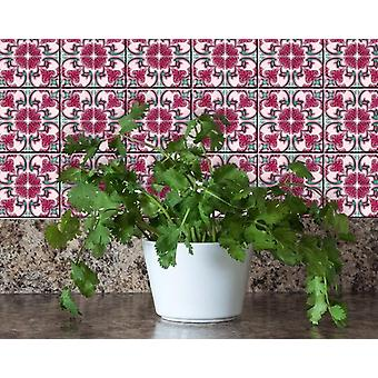 """6"""" X 6"""" Rosa Pink Lea Removable Peel and Stick Tiles"""