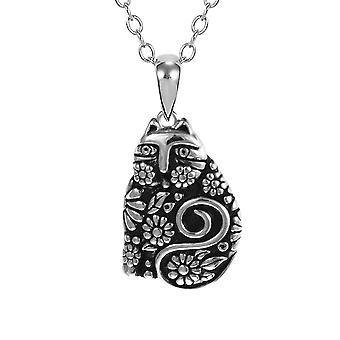 Laurel Burch Flowering Feline Sterling Silver Pendant w/ Necklace