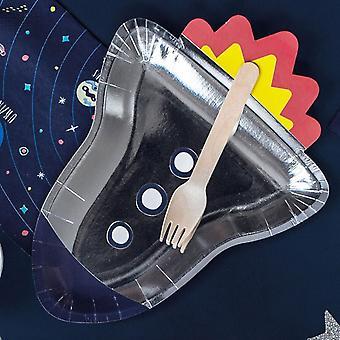 Vaisseau spatial argent papier assiettes Party x 6 Childrens espace parti