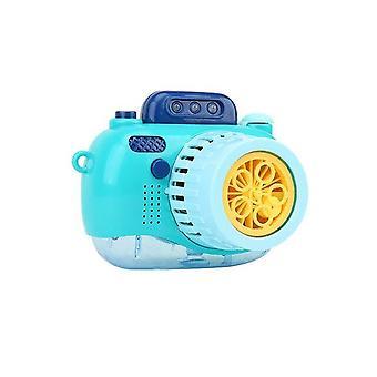 Niedliche Kamera Bubble Machine Automatische Tragbare Bubble Machine Bubble Maker Dynamisches Licht (Blau)