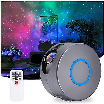 Smart Home Remote Control Led Rotating Starry Sky Projection Night Light (gray)