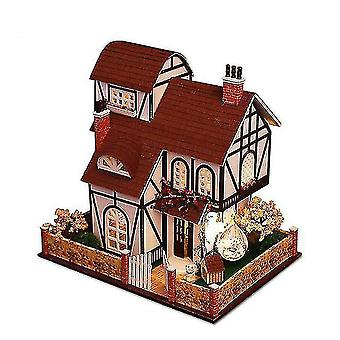 Dollhouse accessories diy european large villa dollhouse miniature furniture with led kits doll houses assemble toys