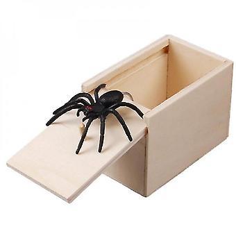 Scatola sorprendente con ragno all'interno della scatola di paura del ragno scherzo di legno