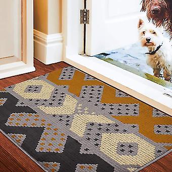 צורה גיאומטרית ללא החלקה מחצלת דלת, מחצלת רגל סופגת ביתית עמידה בפני החלקה, פנימית, חיצונית, כניסה, מדרגות, מסדרון, שטיח חצר, שחור