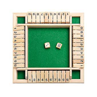 4方法は、子供の大人のためのボックスダイスゲームを閉じて4サイド大木製ボードゲームスマートゲーム学習番号戦略リスク管理