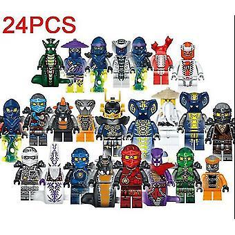 sett av 24pcs mini figur for lego kai jay byggeklosser leker
