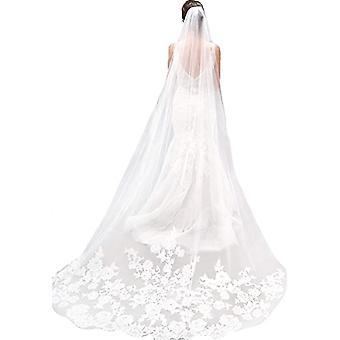 Blanc Ivoire Bord cathédrale Longueur mariage Voile nuptiale avec peigne