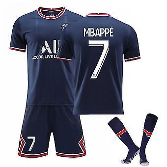 Mbappe 7# Jersey Home 2021-2022 Uusi kausi Pariisi Jalkapallo T-paidat Jersey Set Lapsille/nuorille Cosplay
