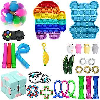 29st Rainbow Push Pop Bubble Fidget Toy Set Edamame Stress Reliever