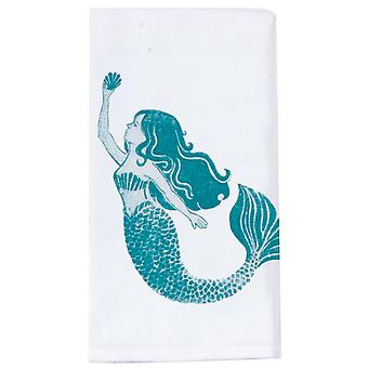 Lovely Mermaid Krinkle Flour Sack Kitchen Dish Towel