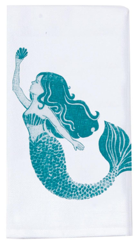 Lovely Mermaid Krinkle Flour Sack Kitchen Dish Towel