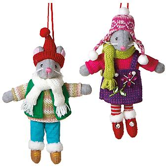 Mr and Mrs Gray Mouse Swiss Alps Winter Knitted Holiday Ornaments Set of 2